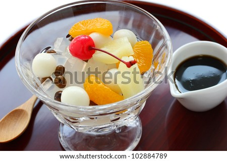 mitsumame with fruits, japanese summer dessert of agar jelly cubes