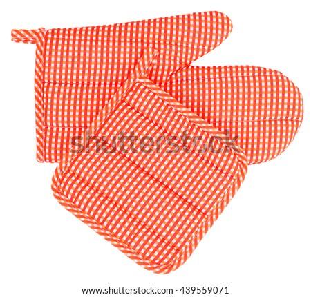 Mitt oven glove and pot holder set orange white plaid - stock photo