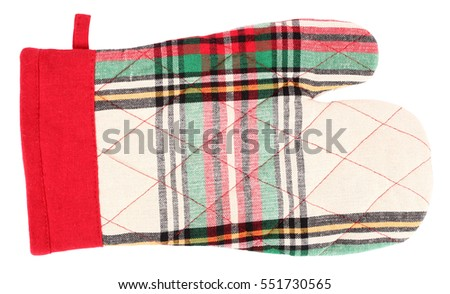 Mitt oven glove beige green red plaid