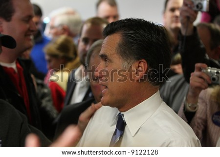 Mitt Romney after a speech at Freeway Ford in Denver, Colorado talking to supporters - stock photo
