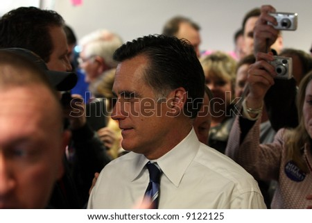 Mitt Romney talking with supporters after a speech in Denver, Colorado.  Feb 2, 2008 - stock photo