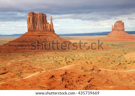 Mitten Butte Monuments - Monument Valley, Utah - stock photo