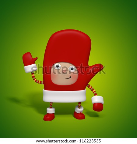 mitten christmas character - stock photo