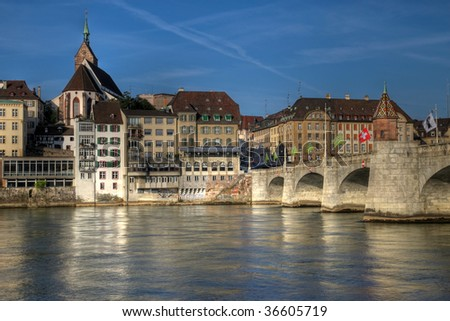 Mittlere Bridge and Basel waterfront, Switzerland (HDR image) - stock photo