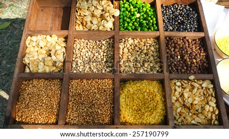 Mix beans in the wood box