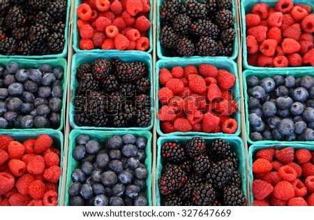 Mix berries includes raspberries, black berries and blue berries - stock photo