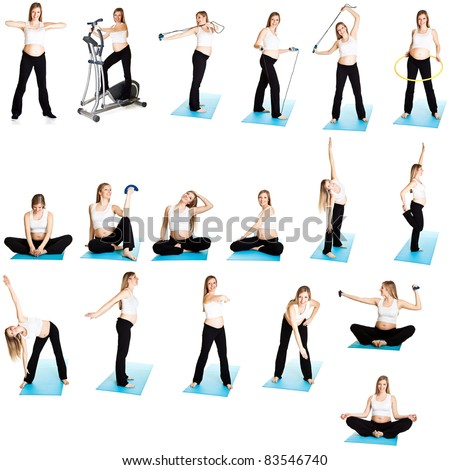 Mix, collage of pregnant woman fitness isolated on white - stock photo
