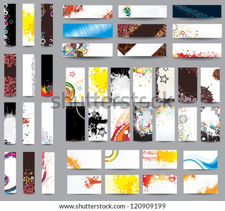 Mix collection banners and business cards. Raster version - stock photo