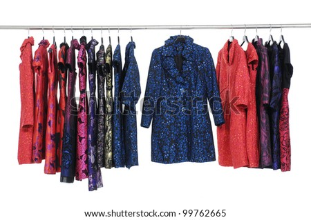 Mix color row of autumn/winter coat fashion clothing on hanging