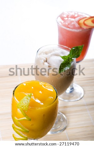 mix colorful cocktail drinks - stock photo