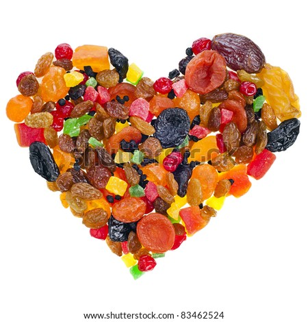 mix dried fruits heart shape collection on white - stock photo