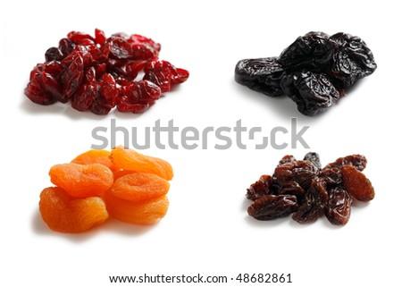 mix dryed fruits on white background - stock photo