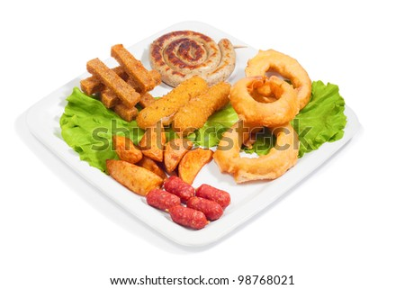 mix fried snack on a white plate - stock photo