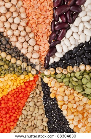 Mix from different beans, legumes, peas, lentils - stock photo