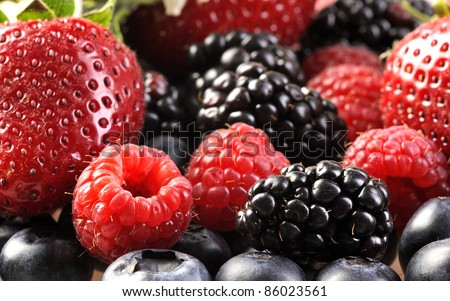 Mix from fresh berries on a table, a bilberry, a raspberry, a strawberry - stock photo