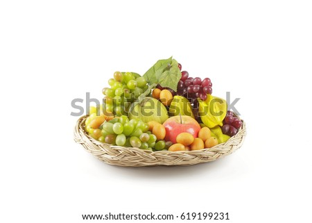 mix fruits in basket.
