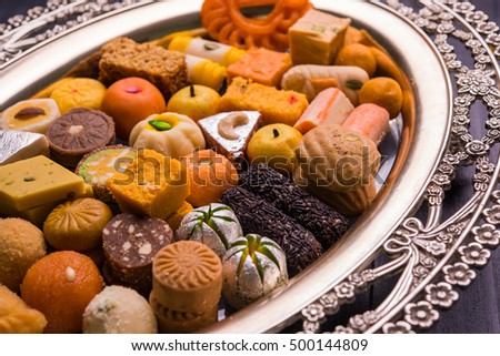 Mix Mithai or indian milk made sweets of indian and pakistani festivals