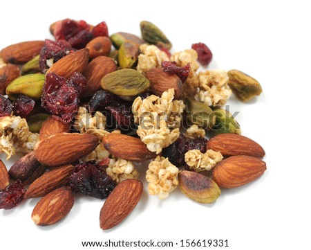 mix nut on white background