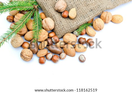 mix nuts and pine isolated on white background