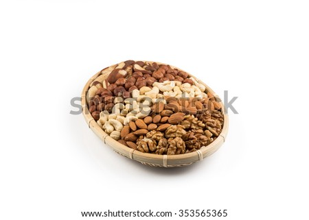 Mix nuts in wicker basket isolated on white background