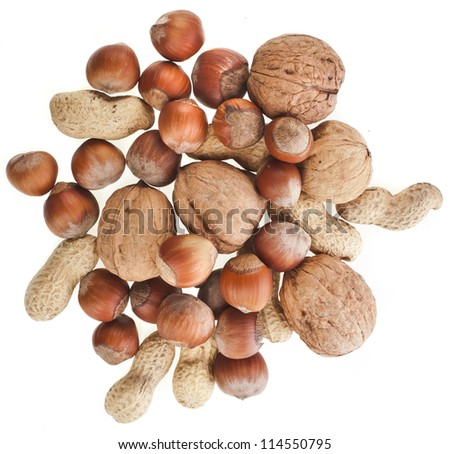 mix nuts isolated on white background - stock photo