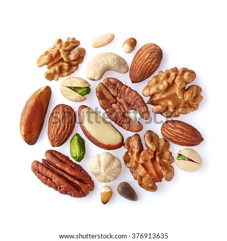 Mix nuts on a white - stock photo