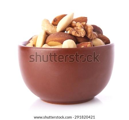 Mix nuts  on white background - stock photo