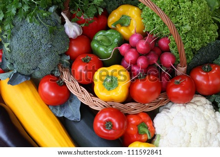 Mix of a colorful vegetables, bird's eye view - stock photo