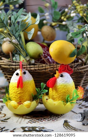 Mix of beautiful handmade Easter colored eggs - stock photo