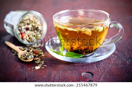 Mix of bio herbal tea - stock photo