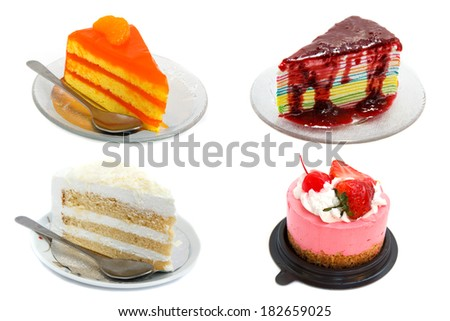 Mix of cake on a white background. - stock photo