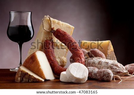 mix of cheese and salami with wine