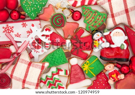 Mix of Christmas Decoration With Cookies - stock photo