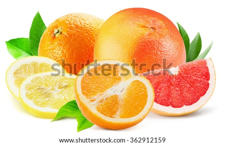 mix of citrus fruits isolated on the white background