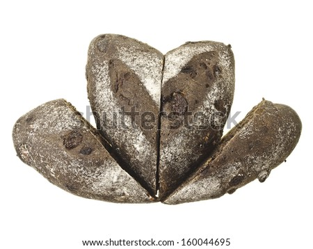 mix of cutting banana loves choco soft bread in flower shape on white background - stock photo