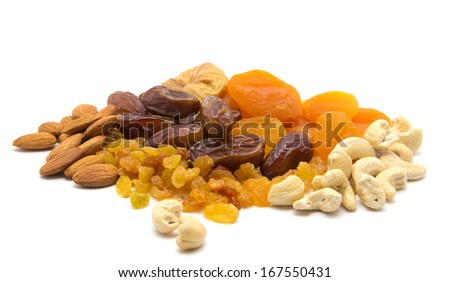 Mix of different dried fruits - stock photo