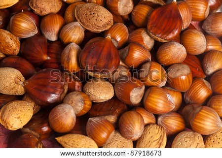 Mix of different kind of delicious nuts