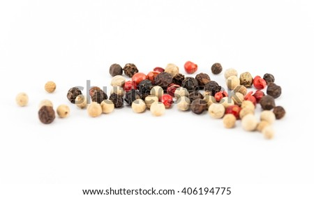 mix of different peppers balls isolated on white background, macro - stock photo