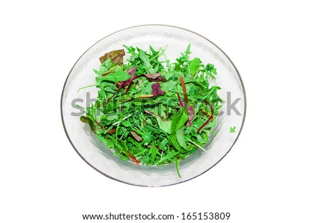 Mix of different varieties of lettuce (spinach, chard, Biondi, arugula, lettuce) isolated on white background - stock photo