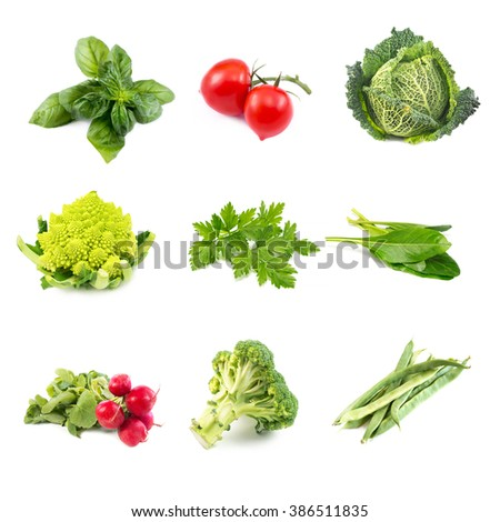 mix of fresh raw vegetables on white - stock photo