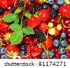 mix of fresh summer berries - stock photo