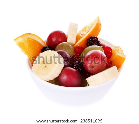Mix of fruit in bowl isolated on white - stock photo