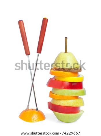 mix of fruit, isolated on white - stock photo