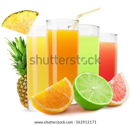 mix of fruit juices isolated on the white background