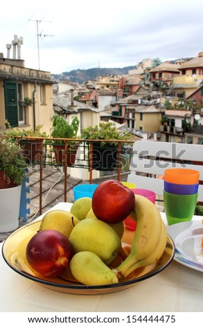 Mix of fruits and herbs on the terrace in Genova, Italy - stock photo