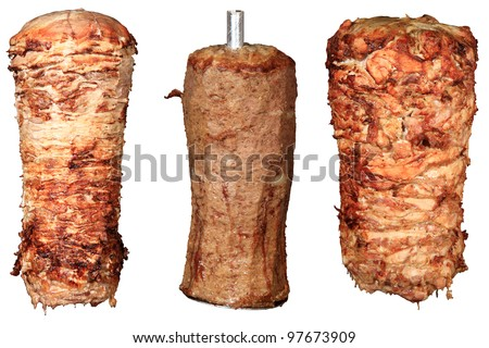 mix of kebab and donner isolated on a white background - stock photo