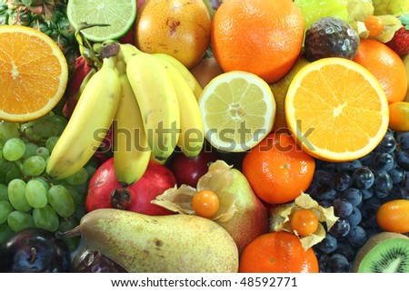 Mix of native and exotic fruits on a white background