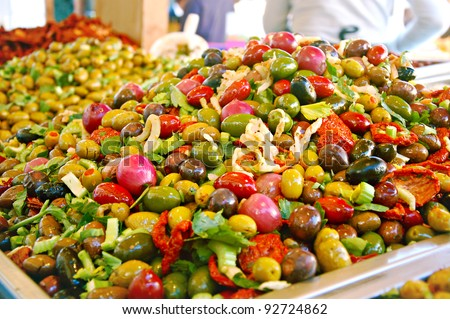 Mix of olives in a market somewhere in italy - stock photo