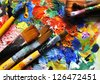 Mix of panits and paintbrushes - stock
