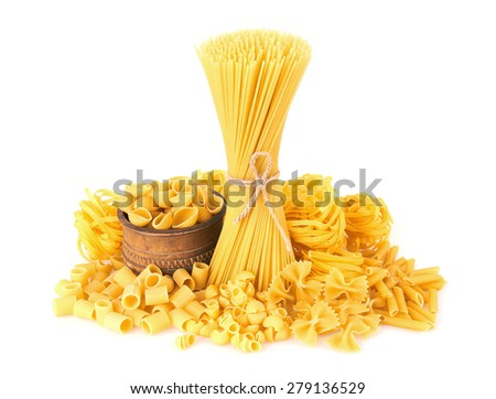 Mix of pasta, isolated on white background - stock photo